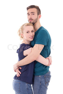 love concept - happy young man and woman hugging isolated on white