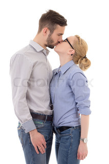 happy young man and woman kissing isolated on white