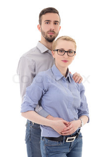 portrait of happy young couple isolated on white