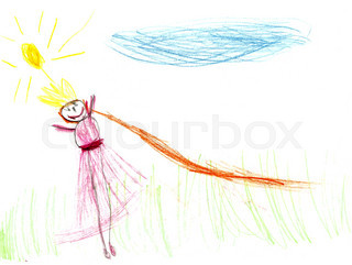 Children drawing - young woman in nature.