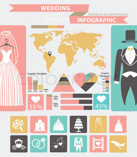 Wedding Infographic SetWedding Wearworld Map