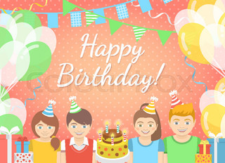 Kids Birthday Party Flat Style Pink Background