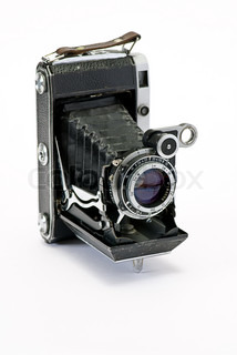 old photo cameras on white background