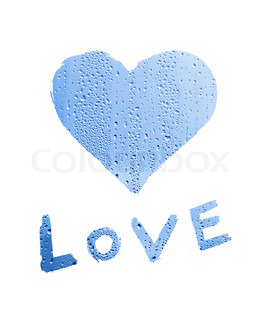 word ''love'' with heart symbol on white background