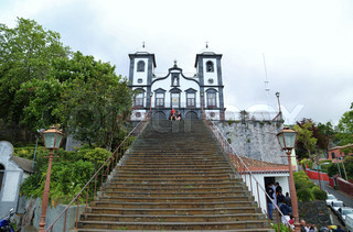 Igreja de Nossa Senhora do Monte, Church of Our Lady of the Mount, stairway, stairs, Funchal, Madeira island, Portugal, may, 2015,