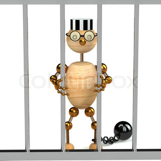 3d wood man as a prisoner isolated on white