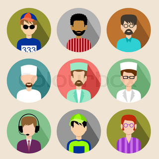 Set of circle flat icons with men. vector illustration