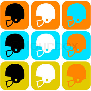 Flat Design Icon Set Showing A Football Helmet In