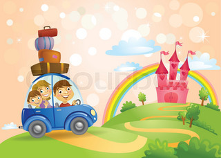 Family going to the Fairy Tale castle.