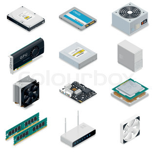 Computer detailed isometric parts vector graphic illustration | Vector ...