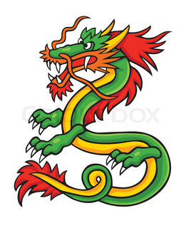 Vector illustration in cartoon style isolated on white. Asian dragon.
