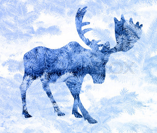 Double exposure with the silhouette of a moose