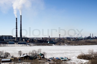 Industrial landscape with a thermal power plant in the city