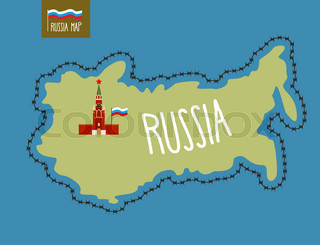 Russia Map. Russia surrounded by barbed wire. The Kremlin in Moscow. Vector illustration