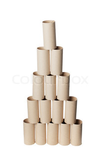 Empty toilet paper rolls arranged as a pyramid