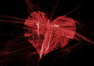 abstract heart on black background