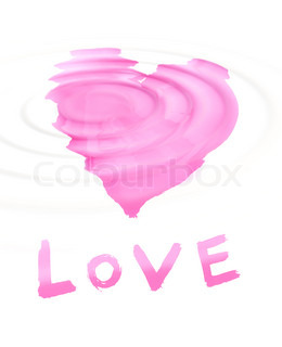 word ''love'' with stylized love symbol on white background