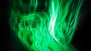 Abstract green glowing flame