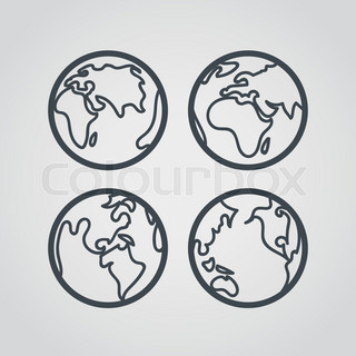 Earth web icons collection. Round lineart design pictograms