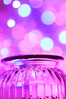 Magical glas jar and bokeh lights