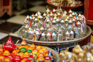 Selection of traditional bottle for perfumes or incenses
