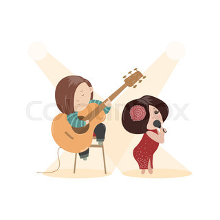 Beautiful woman singing with a microphone and guitarist