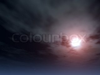 Moonlight passing through clouds (night vision) - the bright moon