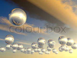 Spheres with reflection. The effective sky with futuristic spheres