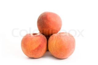 close up shot of peaches isolated on white
