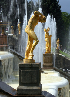 Grand Cascade fountains in the Lower Park of Peterhof