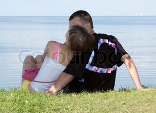 Lad and girl sit on herb on background epidemic deathes