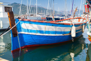 Wooden boat moored in Propriano, Corsica