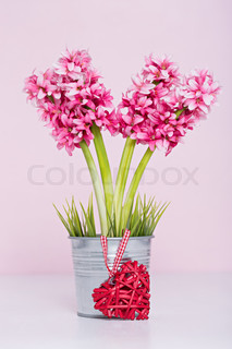 Red heart at flowers with pink background