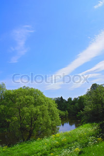 Summer landscape blue sky river trees and grass stock photo colourbox - Impressive house with tranquil environment to get total relaxation ...
