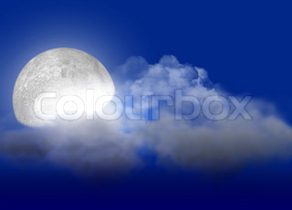 The full moon with light behind clouds
