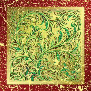 abstract golden background with cracked floral ornament