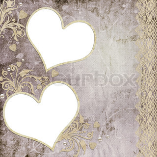Vintage elegant heart frame with lace and pearl