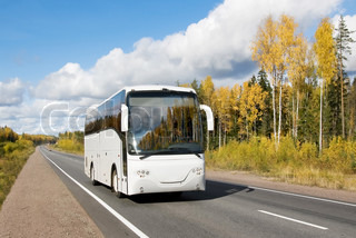 tourist bus, autumn, highway Scandinavia