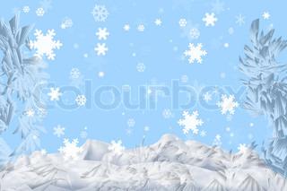 Snowflakes falling in a snowdrift (a kind through the frozen glass)
