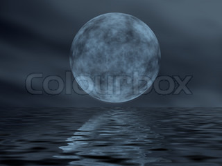 Reflection of the moon in water  (winter night in the central Europe)