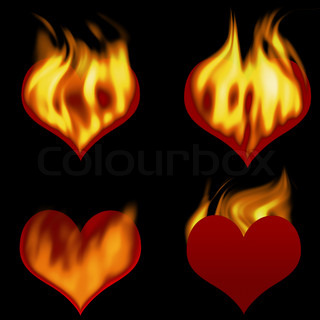 Burning hearts (hearts for the further editing)