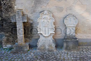 Old grave stone outside a little German church.