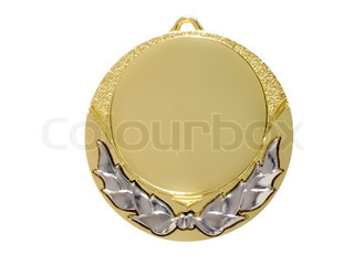 gold Sports medal isolated on a white background