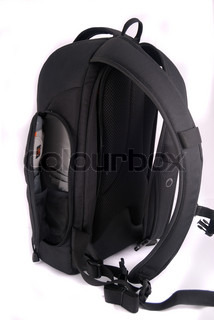 black Photo backpack on a white background