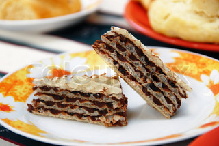 two  pieces of sweet homemade wafer cakes