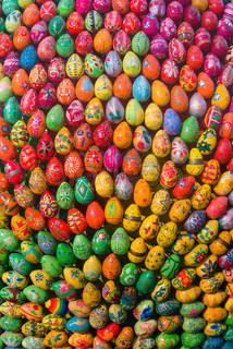 Cheerful cluster of easter eggs