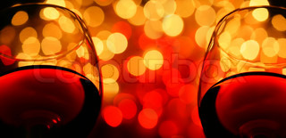 two wineglasses close-up, with copyspace. digital composite