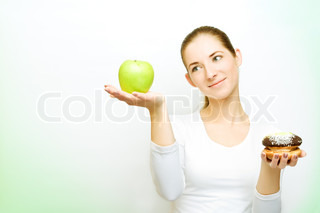 choosing between apple and cake, some green shadows left