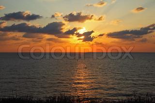 Sparkling sunset in the summer above Mediterranean sea