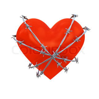 Heart shape wrapped with barbed wire isolated on white